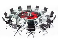 Conference Table made of discarded airplane parts by MotoArt