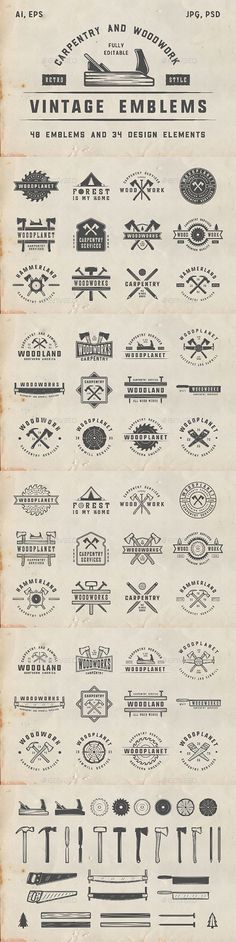 48 Vintage Carpentry Emblems — Photoshop PSD #saw • Download ➝ https://graphicriver.net/item/48-vintage-carpentry-emblems/19562899?ref=pxcr