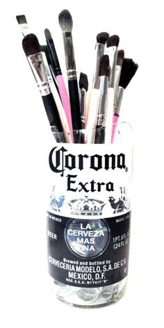 DIY Makeup Brush Holder from a Corona Bottle! (Video)