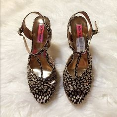 """Betsey Johnson Black/White Shoes Pretty shoes by Betsey Johnson. This sandals features a polka dots or black/white printed fabric with adjustable ankle strap. Delivering a lift is a 5 1/2"""" block heel and 1"""" platform. NWT Betsey Johnson Shoes Platforms"""