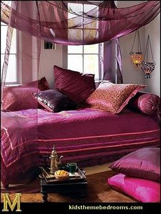 Moroccan Bedroom Design With White Purple Bedroom Wall Pillow Bed Blanket Curtain Nightstand And Brown Carpet Chandelier Window Morrocan Decor, Moroccan Room, Moroccan Interiors, Moroccan Bathroom, Moroccan Style Bedroom, Moroccan Bedding, Modern Moroccan, Moroccan Design, Moroccan Colors