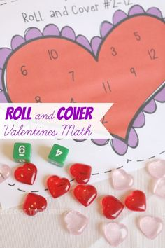 Heart Roll and Cover Valentine's Math Game-- Practice math concepts with your preschooler like correspondence, addition, and number recognition! Preschool Math Games, Kindergarten Games, Fun Math, Math Activities, Math Math, Preschool Valentine Activities, Math Tutor, Indoor Activities, Maths