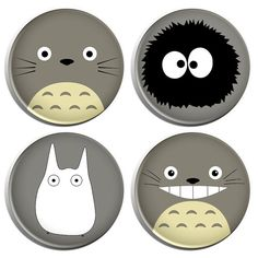 My Neighbor Totoro Button Badges 4 Pack by ButtonPinBee on Etsy