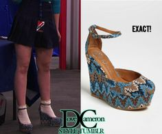 "Dove (as Liv) wears these wedges in ""Skate-A-Rooney"" Jeffrey Campbell Blue Bette Wedge Sold Out  Available on eBay in size 5 & size 6.5"