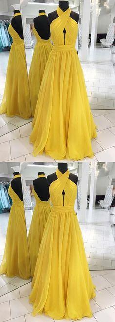 Unique Prom Dress,prom dresses, yellow prom dress, long prom dress,prom dress 2018