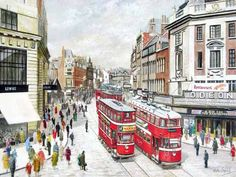 Pete Lapish - New Briggate - Leeds - West Yorkshire - England - A No 3 Chamberlain Tram is going towards Roundhay and passes an Ex London Feltham Tram - 1955 Yorkshire England, West Yorkshire, Vintage Travel Posters, Vintage Postcards, Leeds City, Buses, Past, Cities, Street View