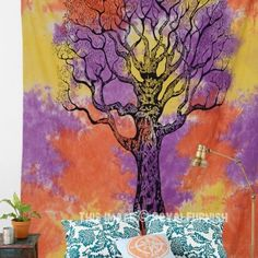 Orange Colorful Holi Tie Dye Desert Tree of Life Tapestry, Hippie Bedspread