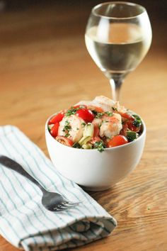 Garlic Basil Shrimp (lightly adapted from Ellie Krieger)  Ingredients      3 tablespoons olive oil     1 large zucchini, diced     1 1/4 pou...
