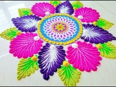 Innovative festival rangoli design II Easy and creative rangoli design Easy Rangoli Designs Diwali, Simple Rangoli Designs Images, Colorful Rangoli Designs, Rangoli Ideas, Diwali Rangoli, Beautiful Rangoli Designs, Kolam Designs, Mehandi Designs, Diwali Colours