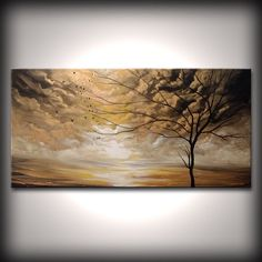 "48"" home decor wall hanging abstract painting acrylic art wall art wall decor painting original painting tree art blowing in the wind"