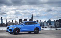 Télécharger fonds d'écran Jaguar F-Pace, 4k, vue de côté, 2018 voitures, New York, bleu F-Pace, Jaguar