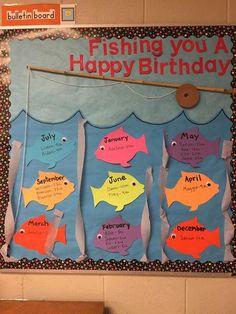 31 Ideas Birthday Board Ideas For Work Preschool Bulletin Summer Bulletin Boards, Birthday Bulletin Boards, Preschool Bulletin Boards, Classroom Bulletin Boards, Preschool Birthday Board, Birthday Chart For Classroom, Sea Bulletin Board, Bullentin Boards, Toddler Classroom