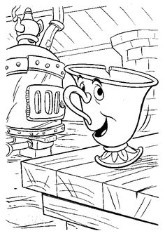 beauty and the beast coloring pages - Taser Gun Cartoon Coloring Pages