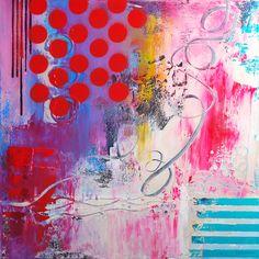 """Saatchi Online Artist: Julie Hawkins; Acrylic 2013 Painting """"Flying Swings (Original Sold)"""""""
