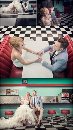Elopement in Las Vegas with the perfect retro diner photos is everything! Top Themed Weddings of 2015 - KnotsVilla
