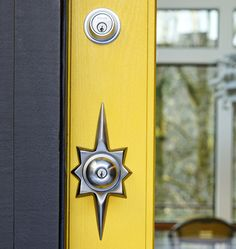 Beau Atlas Mid Century Modern Entry Set | Rejuvenation   Yellow Door Accent On  Charcoal