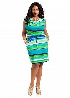 Ashley Stewart Striped Drape Neck Dress