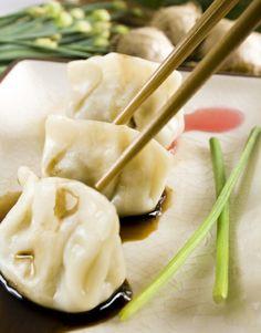 Image of gourmet, dumpling - 5851430 Wonton Appetizers, Vegetarian Recipes, Cooking Recipes, Tofu Recipes, Turkey Recipes, Great Recipes, Favorite Recipes, Vegan Dishes, Vegan Food