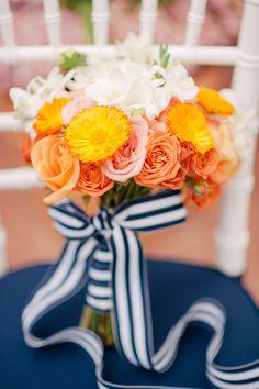 Orange and Navy Blue Citrus Winter Wedding