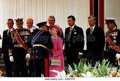 Queen Elizabeth II King Harald V of Norway kissing Queen pink coat hat Charlotte Square Edinburgh - Stock Image