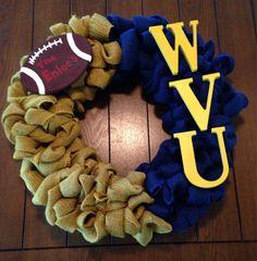 WVU Burlap Wreath