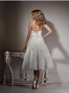 A Line Beading Tea Lenght Sweetheart Lace Wedding Dress - Uniqistic.com