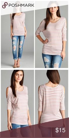 Rose Stripe Cold Shoulder Dolman Tunic Top S M L Perfect Spring transition piece! Dusty Rose stripe cold shoulder dolman tunic top, 3/4 sleeves, 95% Rayon 5% Spandex.  Available in size Small, Medium, or Large.  No trades, price firm unless bundled.  BUNDLE 3 OR MORE ITEMS FOR 15% OFF!! Boutique Tops Tunics