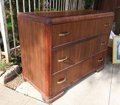 Stunning Art Deco Waterfall Walnut 3 Drawer Dresser REFINISHED