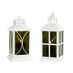 Lantern with Mirror Glass and Moving Flame Candle, Set of Two