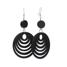 Black cut out design layered hoop wooden drop earrings LALrX