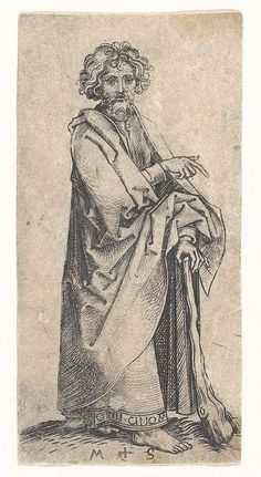 Full: Front St Judas Thaddeus, from a series of twelve plates. Engraving © The Trustees of the British Museum St Judas, Martin Schongauer, Bible Tattoos, Rainy City, Maker Culture, James Martin, Artists For Kids, Madonna And Child, Gravure