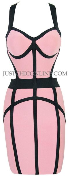 "The ""Lauryn"" Pink and Black Cutout Back Affordable Bandage Dress. Made with high quality luxury bandage fabric. $132.00"