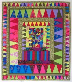 Carnaval Wall Quilt, Quilt Art, Throw Quilt, Quilt Lap, multi-couleurs, improvisation, 51 « x 59 »