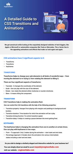 CSS transitions are very important in enhancing the style of your HTML code. Here's the detailed guide to know how to use them along with transforms and animations. Html Css, Web Development, Being Used, Coding, Animation, Website, Learning, Business, Style