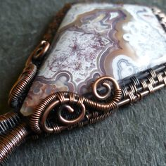 Mexican Crazy Lace Agate Cabochon Wire Wrapped in by CoparAingeal, $65.00