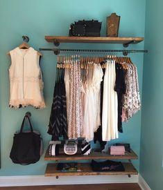 Various lengths Floating Shelves, Retail Fixture, Rustic Pipe Shelf, Industrial Wood Shelf, Garment Clothing Boutique Interior, Boutique Interior Design, Boutique Decor, Closet Bedroom, Closet Space, Bedroom Decor, Clothes Rack Bedroom, Master Bedroom, Closet Wall