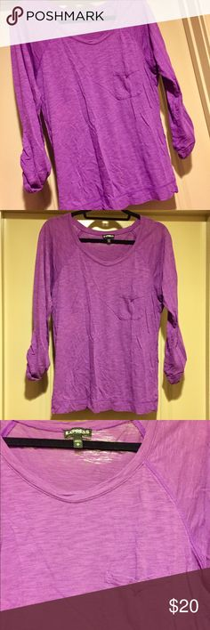 Purple Pocket Tee Cotton pocket tee. Can be worn long sleeve, or can be buttoned up to become 3/4 sleeve. 60% cotton, 40% modal Express Tops Tees - Long Sleeve