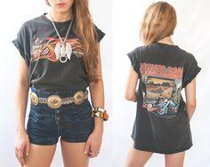 Unisex Vintage Harley Davidson Tee | Super Soft Grunge Biker T-Shirt | Hipster Paper Thin Tee Western Moto Shirt | Mens S M or Womens M L XL...