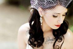 goth-bride-with-chest-tattoo-birdcage-veil-vintage-earings.jpg - Wedding hairstyles half up half down Vintage Hairstyles, Curled Hairstyles, Wedding Hairstyles, Veil Hairstyles, 1 Tattoo, Chest Tattoo, Tattoo Bride, Brides With Tattoos, Vintage Veils