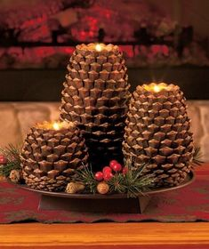 Rustic Pine cone candle holders-3 piece set,mountain Lodge, Log Cabin look