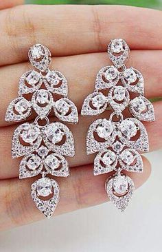 Top 12 Elegant-Looked Wedding Earrings – My Unique Style On Ceremony Day… Bridesmaid Jewelry Sets, Wedding Jewelry Sets, Wedding Earrings, Bridal Jewelry, Bridal Accessories, Jewelry Accessories, Diamond Are A Girls Best Friend, Chandelier Earrings, Drop Earrings