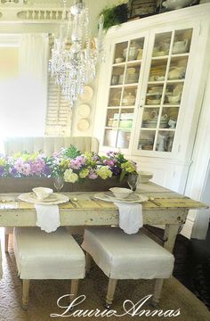 """The dining room of our little Texas Farmhouse on Main, one of our first room renovations.  You can shop an exclusive line of """"Farmhouse On Main"""" (TM) products at LaurieAnna's Vintage Home in Canton, Texas or online at LaurieAnnas.com"""