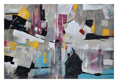 This large boldly colored abstract is hand-painted on a textured canvas and is accented with bits of silver leaf. Finished with black edges. Denver City, Art Of Living, Texture, Accent Furniture, Park City, Metal Wall Art, Framed Artwork, Home Accessories, Picture Frames