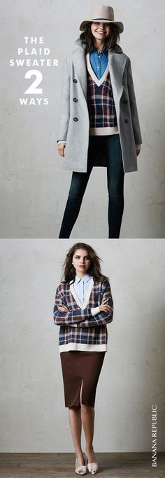 Need. This relaxed plaid sweater for fall. Mohair blend with deep V-neck. Ribbed trim. So many ways to wear. Shop now.