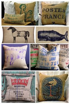 Assorted Pillows.: Gorgeous pillows created with coffee sacks, vintage logos, 1900's lentil sacks etc...all made out of jute or soft burlap.  Designs by: 3 Fine Grains, Thomas Paul, Velvet Bean (Etsy), Ernst and Thistle (Etsy).