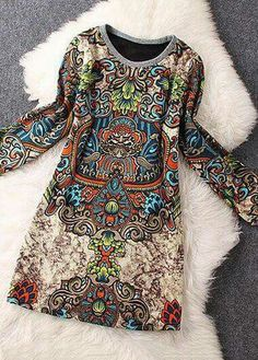 2016 Spring India Ethnic Women Dresses Long Sleeve Above Knee Floral Sexy Mini Dress Vintage Summer Party Hippie Boho Beachwear Look Fashion, Autumn Fashion, Womens Fashion, Street Fashion, Fashion Coat, 30s Fashion, Ladies Fashion, Fashion Bags, Fashion Trends