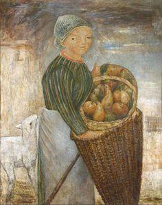 Josef Tadeusz, dit Tadé Makowski (1882-1932), Jeune Femme au panier de fruits et mouton, 1923, huile sur toile, 100 x 89 cm.