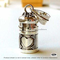 Heart Tube Pendant Locket Bali 925 Sterling Silver Pendant P61. $24.99, via Etsy.