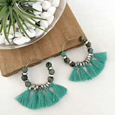 Turquoise tassels hoop earrings large turquoise natural stone