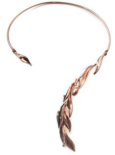 Rose Gold Open Collar Necklace with Olive Leaf Design for the fancy cocktail summer parties and opera event - 99 euro! Or maybe it is a wonderful jewellery gift for her Valentine's Day? Snake Necklace, Leaf Necklace, Bridal Necklace, Collar Necklace, Gold Necklace, Jewelry Art, Jewelry Gifts, Jewelry Design, Women Jewelry